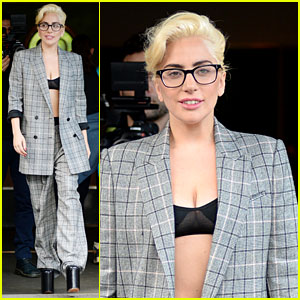 Lady Gaga Wears an Over-Sized Suit with Her Sky-High Shoes