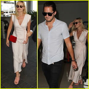 Margot Robbie & Boyfriend Tom Ackerley Jet Out of LAX