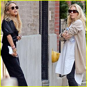 Mary-Kate & Ashley Olsen Take a Break Outside Their Office