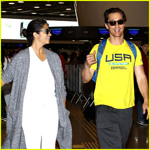 Matthew McConaughey & Camila Alves Head Home After Attending Rio Olympics