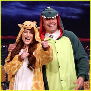 Meghan Trainor Gives Jimmy Fallon a Dinosaur Onesie on 'The Tonight Show' - Watch!