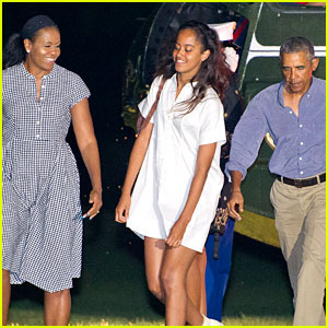 Obama Family Arrives Home from Summer Vacation