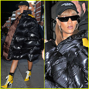 Rihanna Wears Puffy Over-Sized Coat for Shopping in London