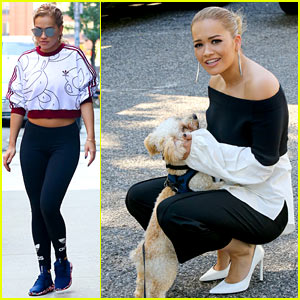 Rita Ora Gets Distracted By an Adorable Pup On Her Way to Work