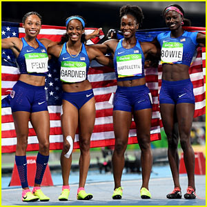 Team USA Wins Gold in Women's 4x100 Relay at the Rio Olympics 2016!