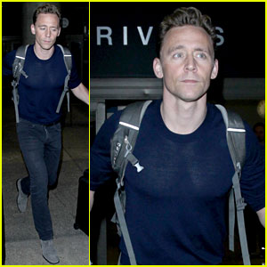Tom Hiddleston Arrives Back in Los Angeles After More 'Thor' Filming