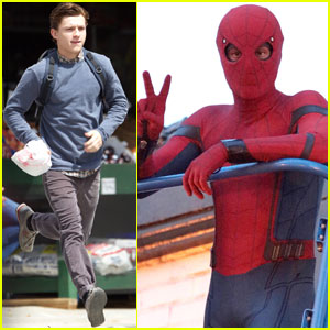 Tom Holland Suits Up on the Set of 'Spider-Man: Homecoming'
