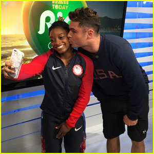 Watch the Moment Zac Efron Met Simone Biles & the Final Five in Rio