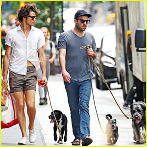 Zachary Quinto & Miles McMillan Take Their Dogs for a Walk in NYC