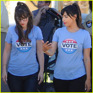 Zooey Deschanel & Hannah Simone Take a Break While Filming Scenes for 'New Girl'