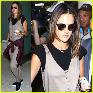 Alessandra Ambrosio Lands at LAX After Modeling Abroad