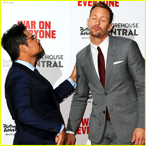 Alexander Skarsgard Has a Silly Moment with Michael Pena at 'War on Everyone' London Premiere!
