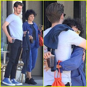 Andrew Garfield & Alia Shawkat Hug After Coffee Date