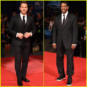Chris Pratt & Denzel Washington Suit Up at 'The Magnificent Seven' Venice Premiere!