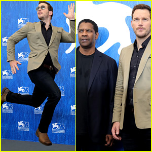 Chris Pratt Jumps for Joy at Venice Photo Call with Denzel Washington!