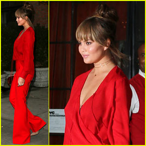Chrissy Teigen Steps Out With Darker Hair & Brand-New Bangs!