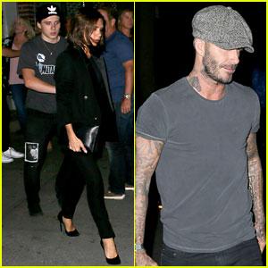 David, Victoria & Brooklyn Beckham Attend Fashion Week Dinner Together