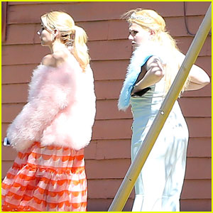 Emma Roberts and Abigail Breslin Film 'Scream Queens' on Location in Los Angeles