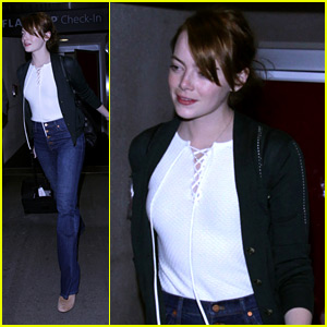 Emma Stone Arrives Home After Going on a Film Festival Tour