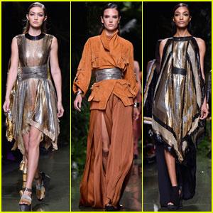 Gigi Hadid & Alessandra Ambrosio Walk in Balmain Paris Show