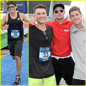 James Marsden & Zac Efron Race for Children's Hospital LA in Malibu Triathlon
