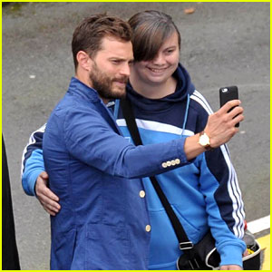 Jamie Dornan Snaps Selfies with Lucky Fans at Dublin Airport