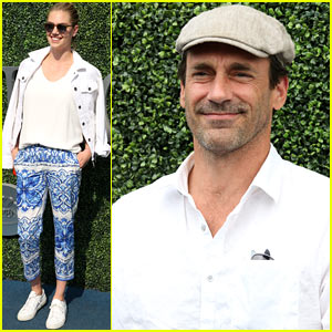 Jon Hamm & Kate Upton Cheer from the Stands at the U.S. Open Semi-Finals!