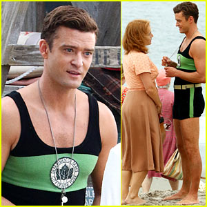 Justin Timberlake & Kate Winslet Film a Beach Scene for Woody Allen Movie