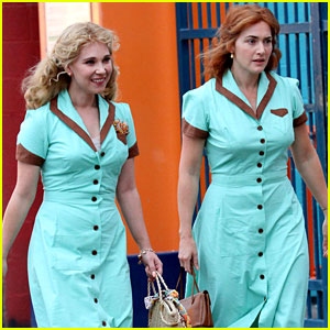 Kate Winslet & Juno Temple Wear Matching Blue Dresses for Woody Allen Movie