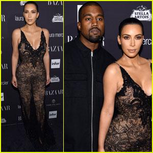 Kim Kardashian & Kanye West Couple Up at Harper's Bazaar Icons Party