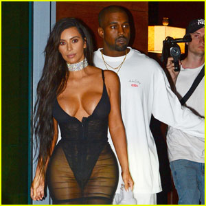 Kim Kardashian Shows Off Major Cleavage in Sexy Sheer Dress for Kanye West's Miami Concert
