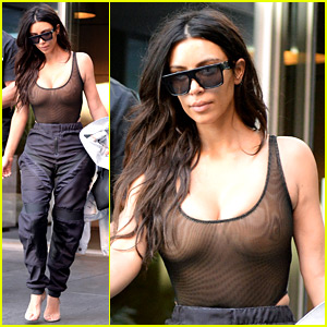 Kim Kardashian Wears Another See-Through Top in New York