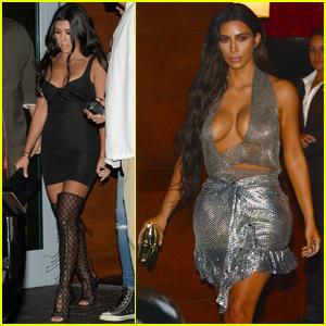 Kim & Kourtney Kardashian Head to Kanye West's Concert in Miami