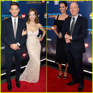 Michael Buble & Bruce Willis Bring Their Spouses To 'Tony Bennett Celebrates 90: The Best Is Yet To Come'!