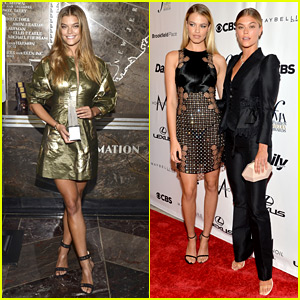 Nina Agdal & Hailey Clauson Are Blonde Beauties at Daily Front Row Awards During NYFW