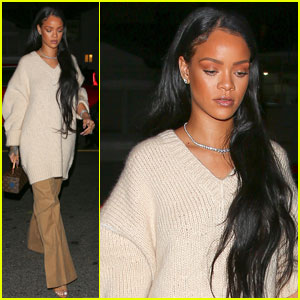 Rihanna is Pretty in Pink for Santa Monica Dinner