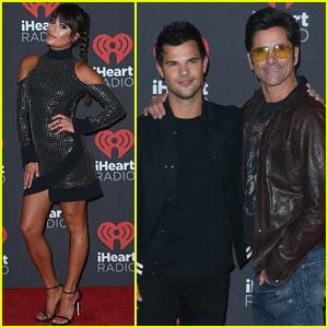 Lea Michele Joins Co-Stars Taylor Lautner & John Stamos at iHeartRadio Music Festival!