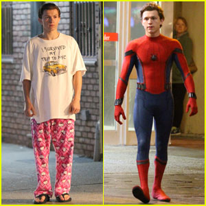 Tom Holland Sports 'Hello Kitty' Pajamas While Filming 'Spider-Man: Homecoming' Scenes in Queens!