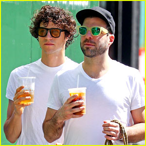 Zachary Quinto & Miles McMillan Wear Coordinating Outfits in NYC!