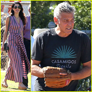 Amal Clooney Visits George on Set With Her Father