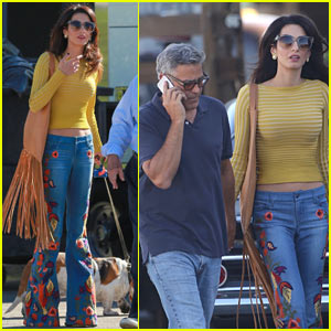 George Clooney is Visited by Wife Amal on Set!