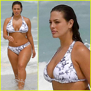 Ashley Graham Flaunts Her Figure on the Beach in a Bikini