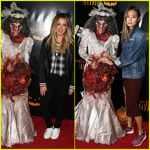 Ashley Tisdale & Jamie Chung Meet a Scary Zombie Bride!