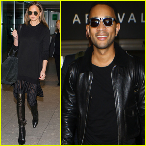 John Legend & Chrissy Teigen Return Home After Trip to London
