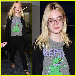 Elle Fanning Brings Back the '90s While Heading to Her Flight