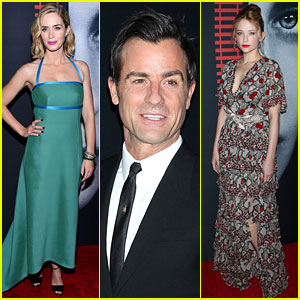 Emily Blunt Premieres 'Girl On the Train' in NYC with Justin Theroux & Haley Bennett!