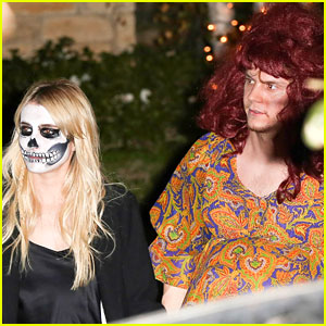 Evan Peters Dresses as Pregnant Woman for Halloween Alongside Emma Roberts!