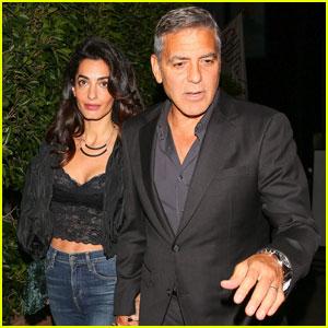 George & Amal Clooney Enjoy Santa Monica Meal With Cindy Crawford & Rande Gerber