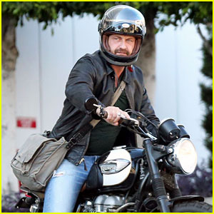 Gerard Butler Hops on His Motorcycle for a Ride