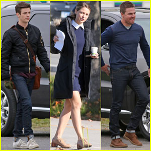 Grant Gustin, Melissa Benoist, Stephen Amell & More Start Filming CW Crossover - First Set Photos!